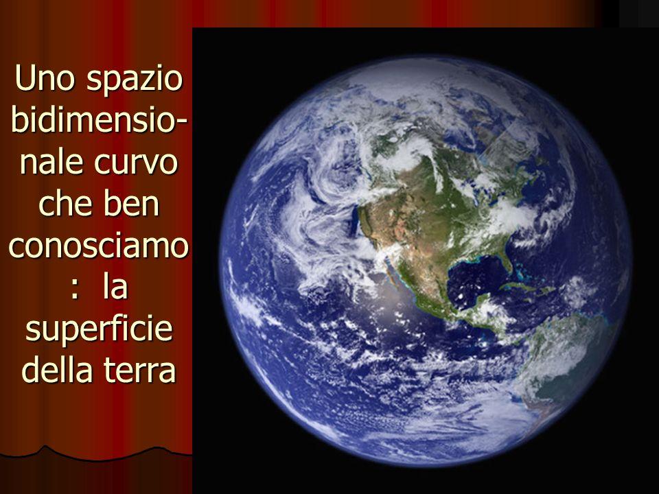 Uno spazio bidimensio- nale curvo che ben conosciamo : la superficie della terra