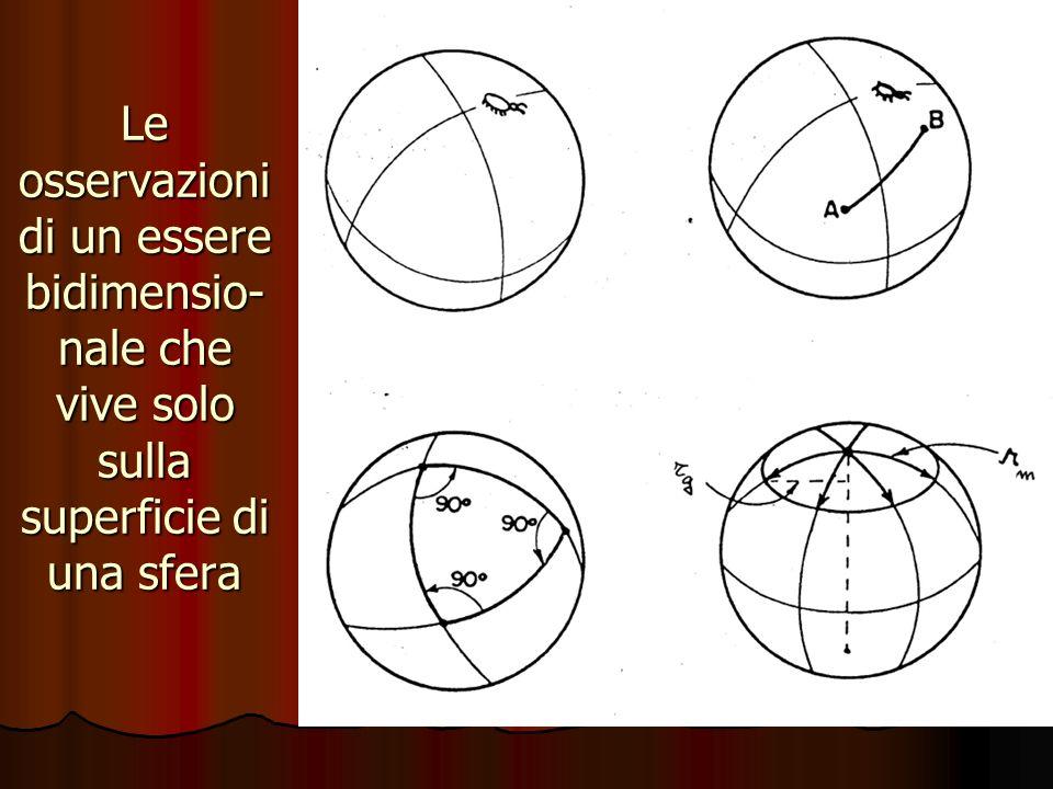 Le osservazioni di un essere bidimensio- nale che vive solo sulla superficie di una sfera