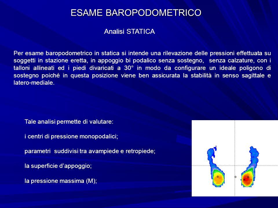 ESAME BAROPODOMETRICO Analisi STATICA Per esame baropodometrico in statica si intende una rilevazione delle pressioni effettuata su soggetti in stazio