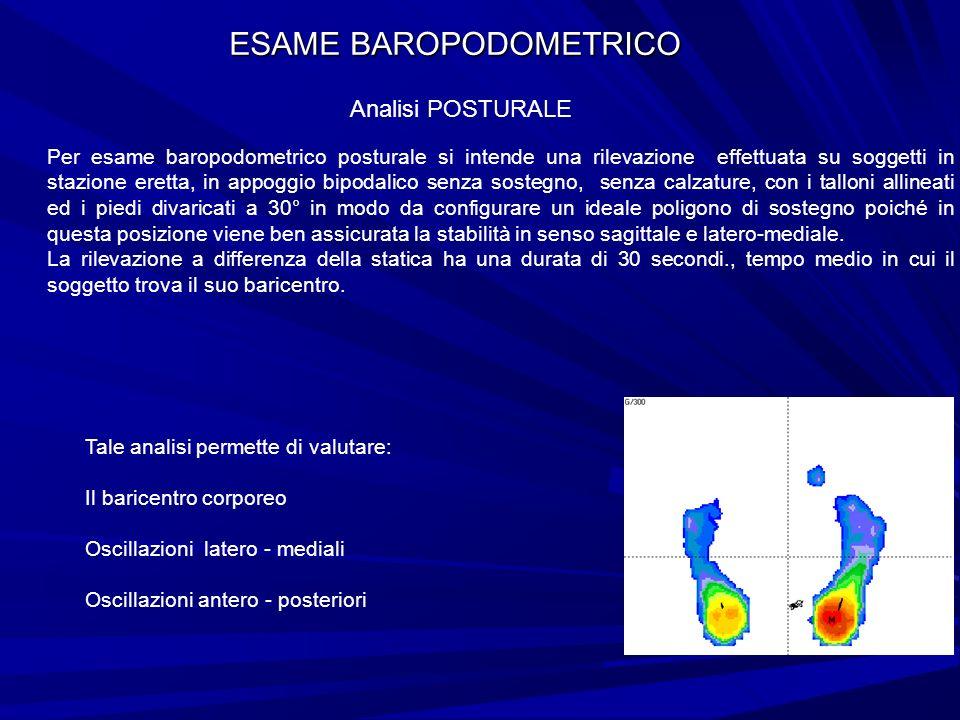 ESAME BAROPODOMETRICO Analisi POSTURALE Per esame baropodometrico posturale si intende una rilevazione effettuata su soggetti in stazione eretta, in a