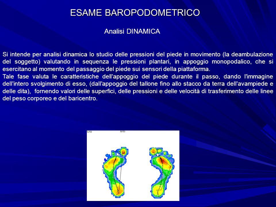 ESAME BAROPODOMETRICO Analisi DINAMICA Si intende per analisi dinamica lo studio delle pressioni del piede in movimento (la deambulazione del soggetto