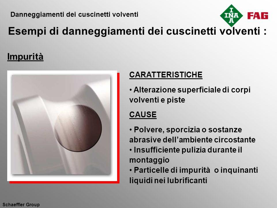 Schaeffler Group CARATTERISTICHE Alterazione superficiale di corpi volventi e piste CAUSE Polvere, sporcizia o sostanze abrasive dellambiente circosta