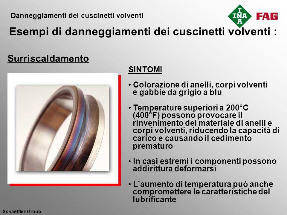 Schaeffler Group SINTOMI Colorazione di anelli, corpi volventi e gabbie da grigio a blu Temperature superiori a 200°C (400°F) possono provocare il rin
