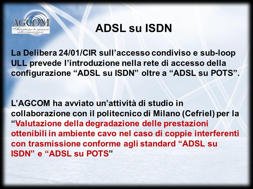 La Delibera 24/01/CIR sullaccesso condiviso e sub-loop ULL prevede lintroduzione nella rete di accesso della configurazione ADSL su ISDN oltre a ADSL su POTS.