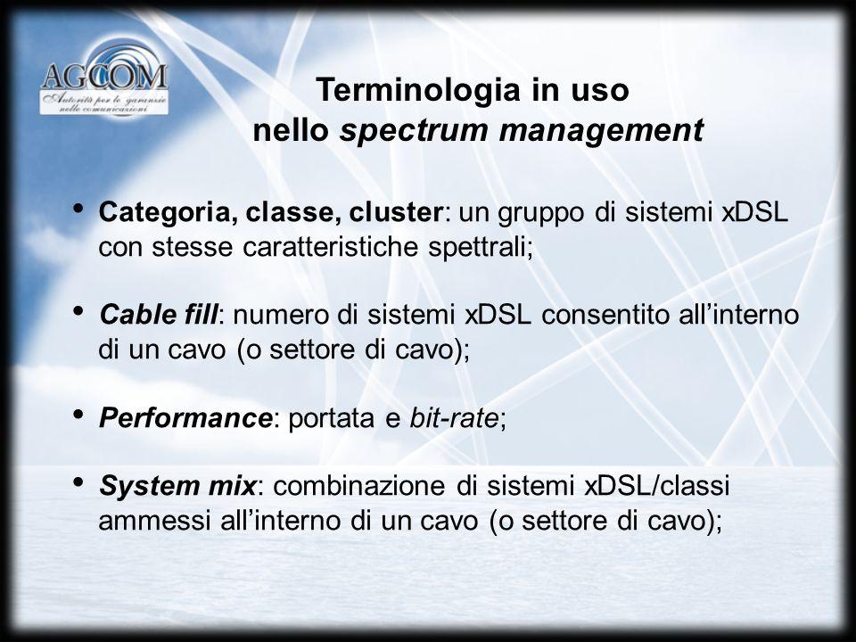 Terminologia in uso nello spectrum management Categoria, classe, cluster: un gruppo di sistemi xDSL con stesse caratteristiche spettrali; Cable fill: numero di sistemi xDSL consentito allinterno di un cavo (o settore di cavo); Performance: portata e bit-rate; System mix: combinazione di sistemi xDSL/classi ammessi allinterno di un cavo (o settore di cavo);