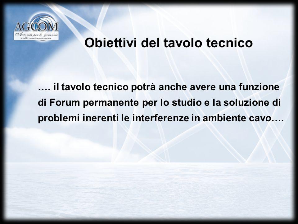 Obiettivi del tavolo tecnico ….
