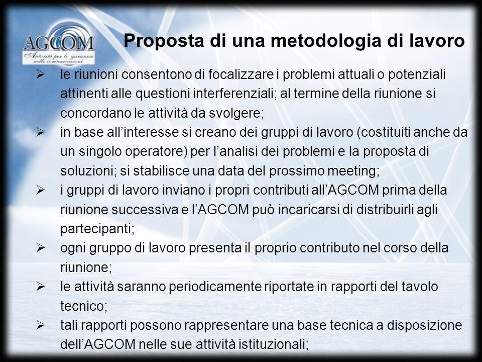 Proposta di una metodologia di lavoro le riunioni consentono di focalizzare i problemi attuali o potenziali attinenti alle questioni interferenziali; al termine della riunione si concordano le attività da svolgere; in base allinteresse si creano dei gruppi di lavoro (costituiti anche da un singolo operatore) per lanalisi dei problemi e la proposta di soluzioni; si stabilisce una data del prossimo meeting; i gruppi di lavoro inviano i propri contributi allAGCOM prima della riunione successiva e lAGCOM può incaricarsi di distribuirli agli partecipanti; ogni gruppo di lavoro presenta il proprio contributo nel corso della riunione; le attività saranno periodicamente riportate in rapporti del tavolo tecnico; tali rapporti possono rappresentare una base tecnica a disposizione dellAGCOM nelle sue attività istituzionali;