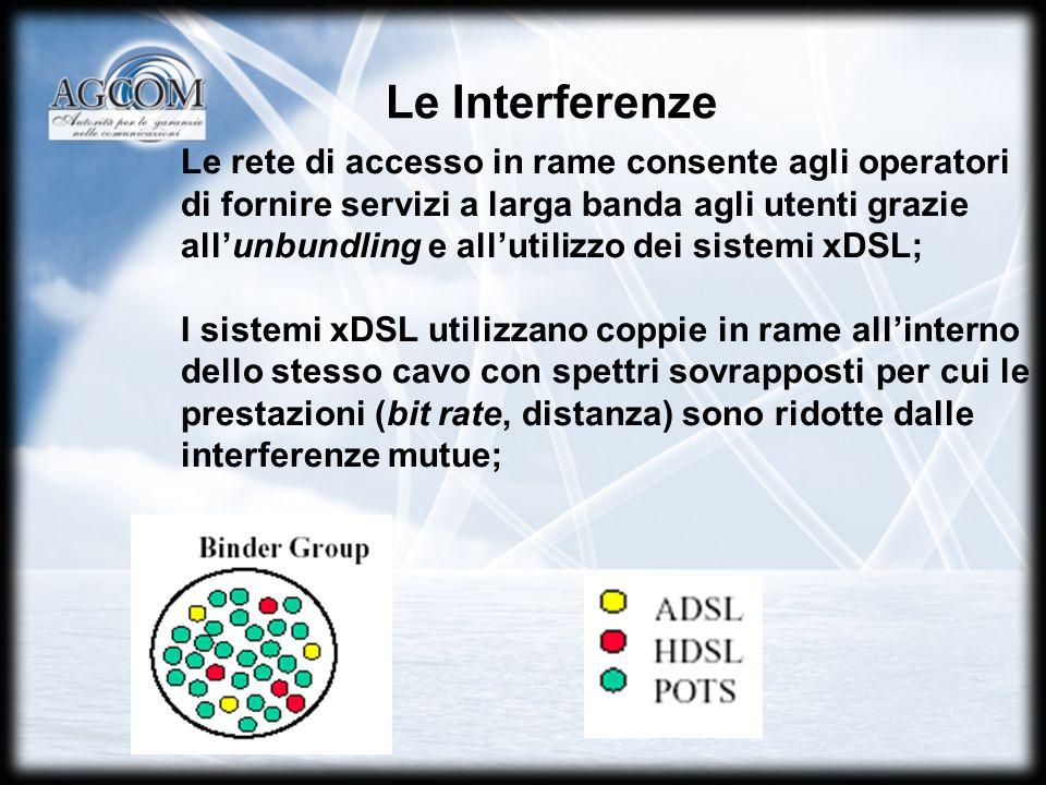 Le Interferenze Le rete di accesso in rame consente agli operatori di fornire servizi a larga banda agli utenti grazie allunbundling e allutilizzo dei sistemi xDSL; I sistemi xDSL utilizzano coppie in rame allinterno dello stesso cavo con spettri sovrapposti per cui le prestazioni (bit rate, distanza) sono ridotte dalle interferenze mutue;