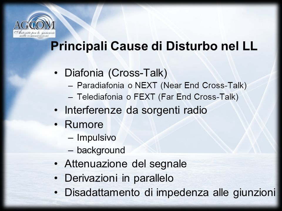Principali Cause di Disturbo nel LL Diafonia (Cross-Talk) –Paradiafonia o NEXT (Near End Cross-Talk) –Telediafonia o FEXT (Far End Cross-Talk) Interfe
