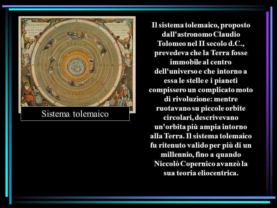 Il sistema tolemaico, proposto dall'astronomo Claudio Tolomeo nel II secolo d.C., prevedeva che la Terra fosse immobile al centro dell'universo e che