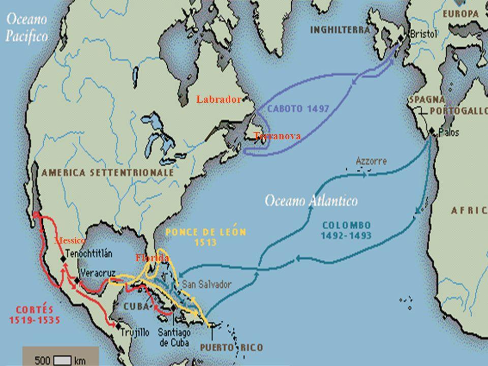 Primi esploratori europei Labrador Terranova Florida Messico