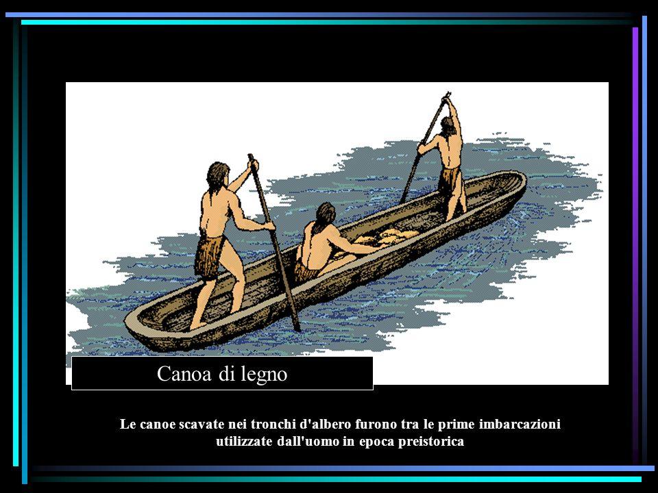 Canoa di legno Le canoe scavate nei tronchi d'albero furono tra le prime imbarcazioni utilizzate dall'uomo in epoca preistorica