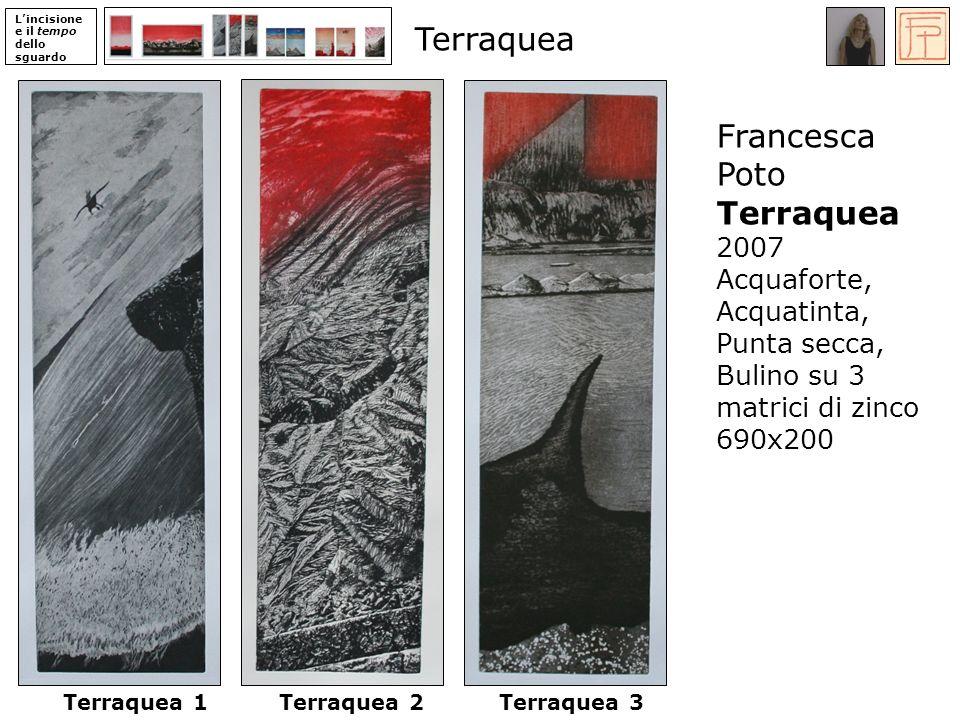Lincisione e il tempo dello sguardo Terraquea 1Terraquea 2Terraquea 3 Francesca Poto Terraquea 2007 Acquaforte, Acquatinta, Punta secca, Bulino su 3 matrici di zinco 690x200 Terraquea