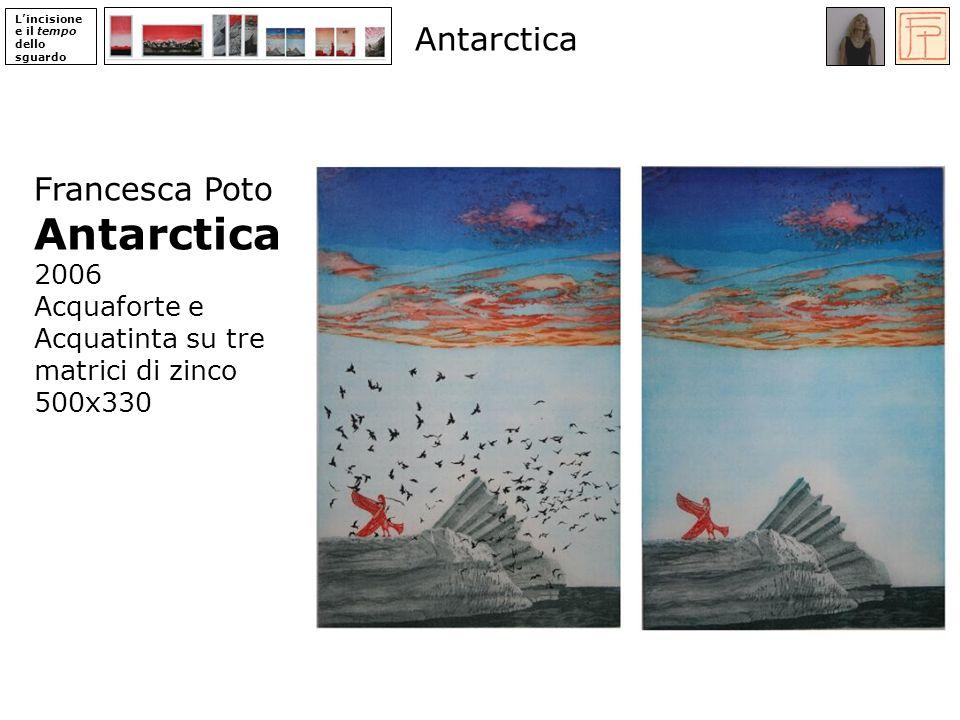 Lincisione e il tempo dello sguardo Francesca Poto Antarctica 2006 Acquaforte e Acquatinta su tre matrici di zinco 500x330 Antarctica