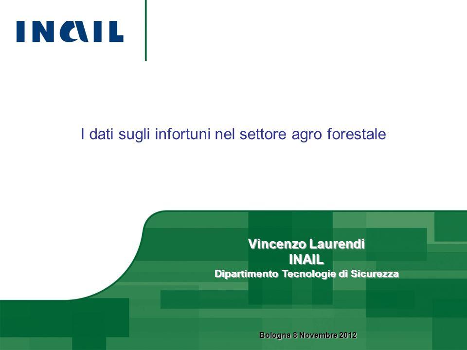 I dati sugli infortuni nel settore agro forestale Vincenzo Laurendi INAIL Dipartimento Tecnologie di Sicurezza Bologna 8 Novembre 2012 Bologna 8 Novem