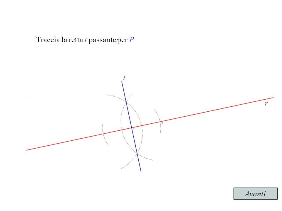 Traccia la retta t passante per P La retta t è la perpendicolare alla retta r passante per il punto P esterno a r Avanti r t
