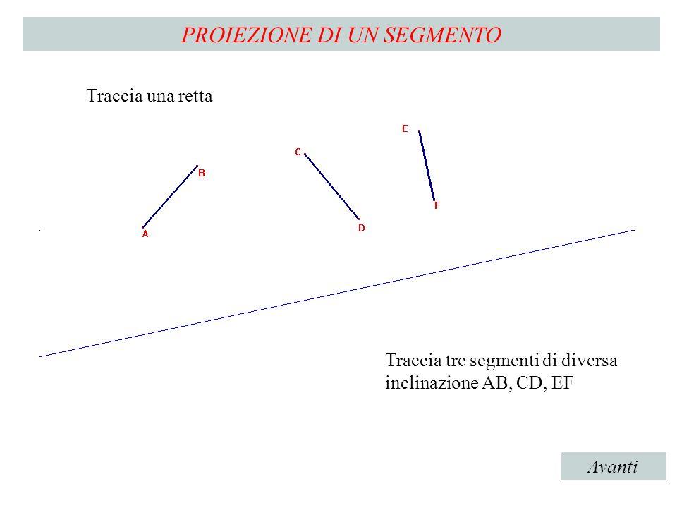 Traccia una retta Traccia tre segmenti di diversa inclinazione AB, CD, EF Avanti PROIEZIONE DI UN SEGMENTO Traccia una retta Traccia tre segmenti di diversa inclinazione AB, CD, EF
