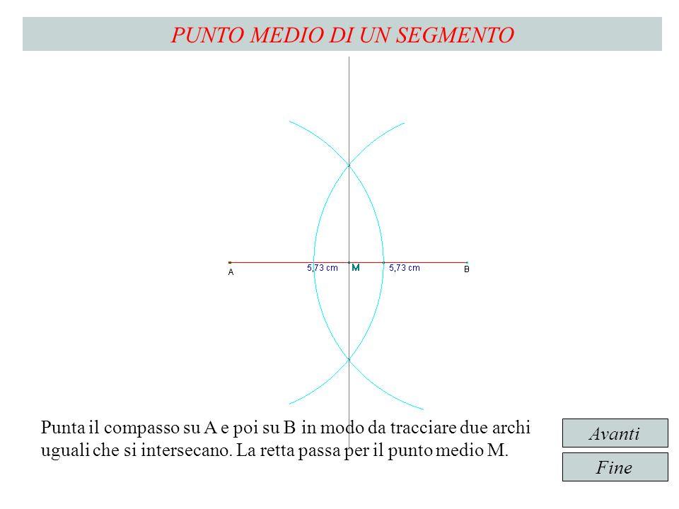 Punta il compasso su A e poi su B in modo da tracciare due archi uguali che si intersecano.