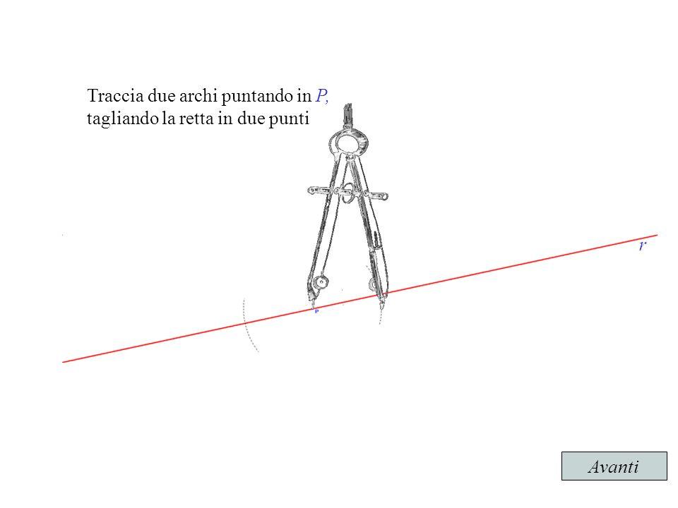 Traccia due archi puntando in P, tagliando la retta in due punti Avanti r r