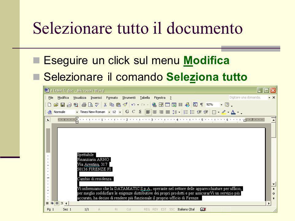Ivan Renesto21 Selezionare tutto il documento Eseguire un click sul menu Modifica Selezionare il comando Seleziona tutto