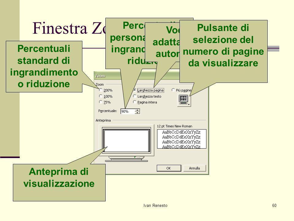 Ivan Renesto60 Finestra Zoom Anteprima di visualizzazione Percentuali standard di ingrandimento o riduzione Percentuali personalizzate di ingrandimento o riduzione Voci di adattamento automatico Pulsante di selezione del numero di pagine da visualizzare