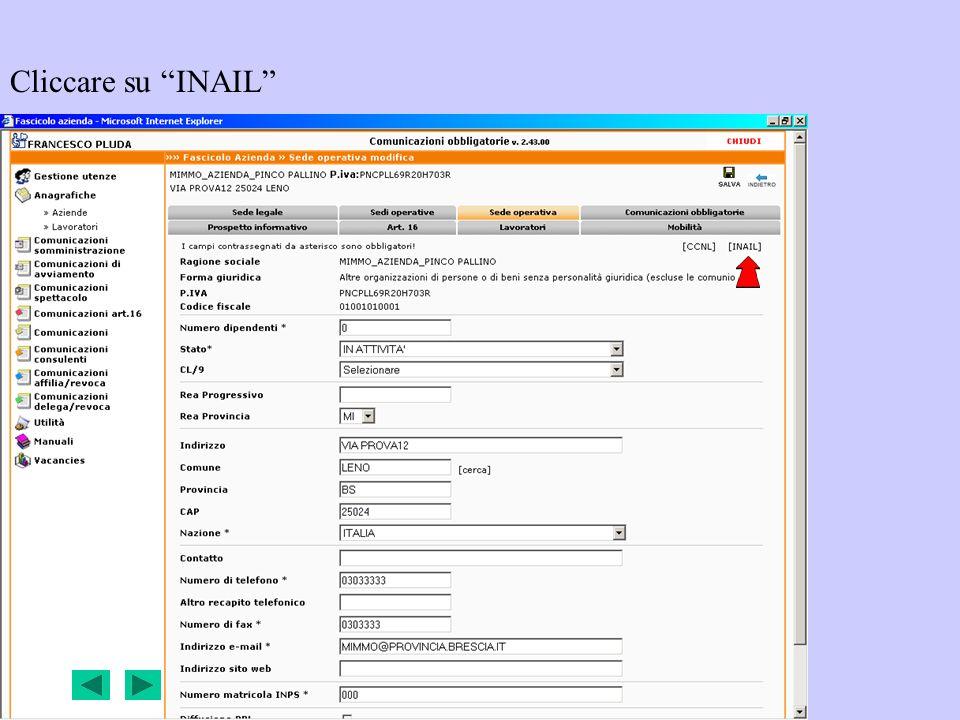 Cliccare su INAIL