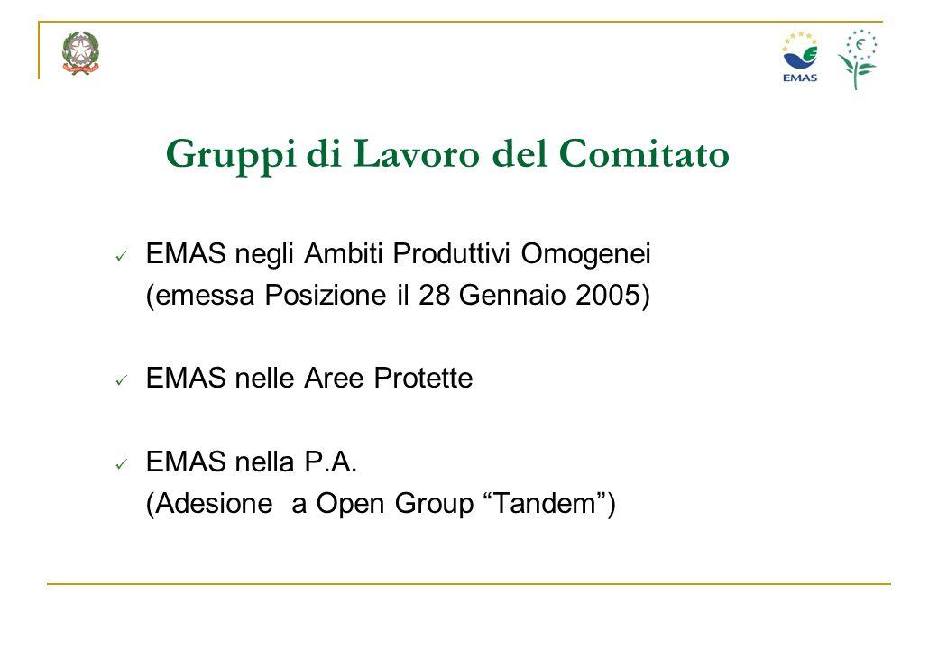 Gruppi di Lavoro del Comitato EMAS negli Ambiti Produttivi Omogenei (emessa Posizione il 28 Gennaio 2005) EMAS nelle Aree Protette EMAS nella P.A. (Ad