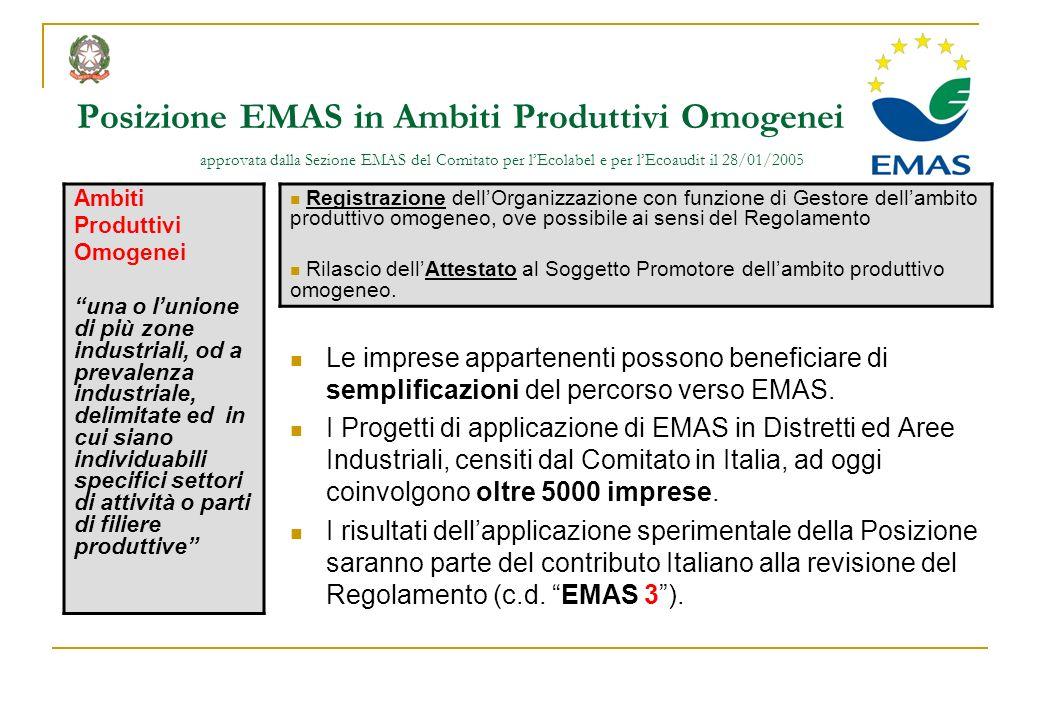 Posizione EMAS in Ambiti Produttivi Omogenei approvata dalla Sezione EMAS del Comitato per lEcolabel e per lEcoaudit il 28/01/2005 Ambiti Produttivi O