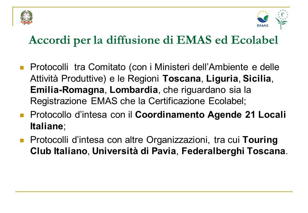 Accordi per la diffusione di EMAS ed Ecolabel Protocolli tra Comitato (con i Ministeri dellAmbiente e delle Attività Produttive) e le Regioni Toscana,