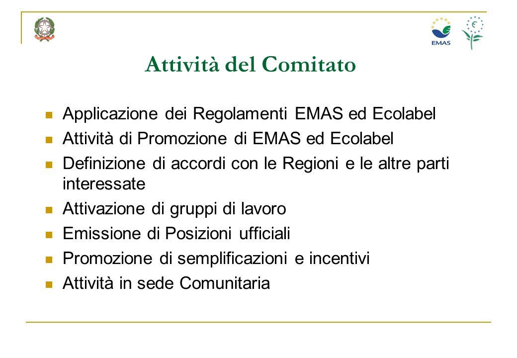Attività del Comitato Applicazione dei Regolamenti EMAS ed Ecolabel Attività di Promozione di EMAS ed Ecolabel Definizione di accordi con le Regioni e
