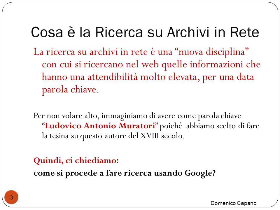 Cosa è la Ricerca su Archivi in Rete 3 La ricerca su archivi in rete è una nuova disciplina con cui si ricercano nel web quelle informazioni che hanno una attendibilità molto elevata, per una data parola chiave.