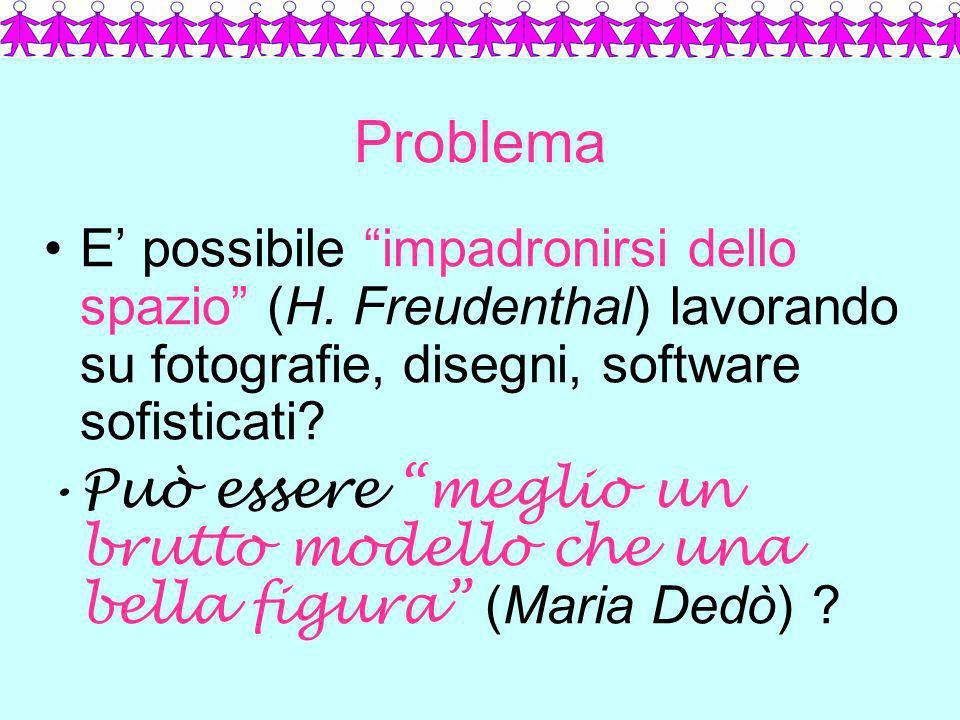 Problema E possibile impadronirsi dello spazio (H. Freudenthal) lavorando su fotografie, disegni, software sofisticati? Può essere meglio un brutto mo