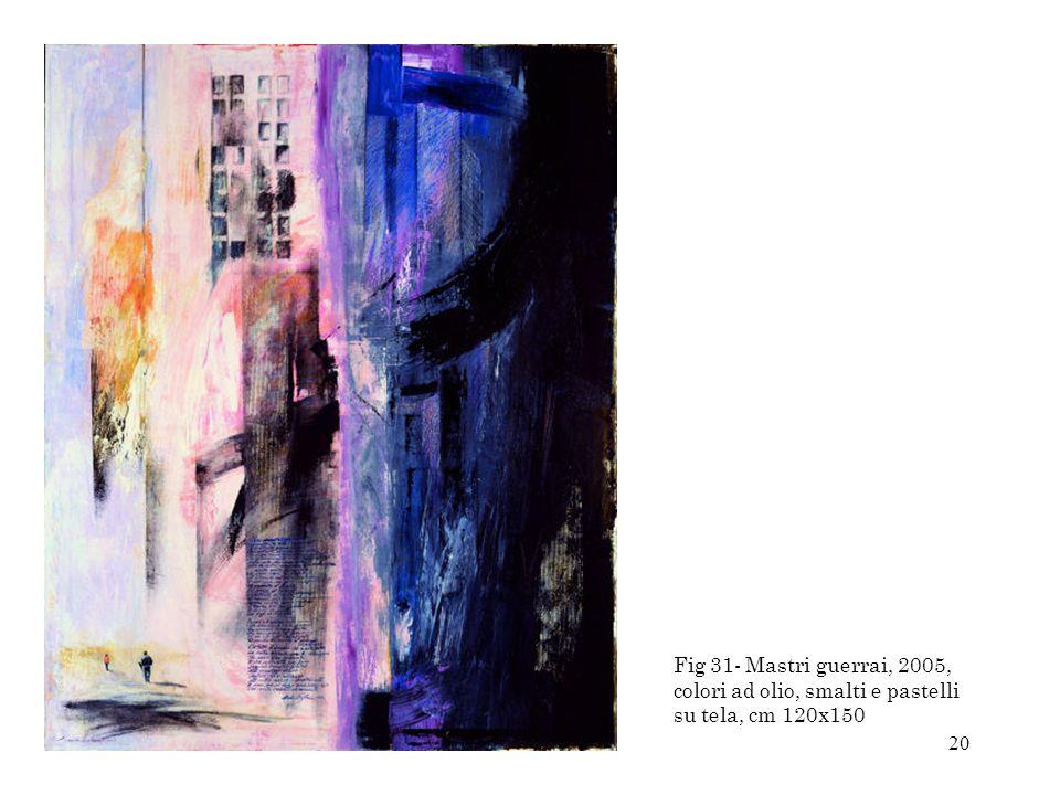 20 Fig 31- Mastri guerrai, 2005, colori ad olio, smalti e pastelli su tela, cm 120x150