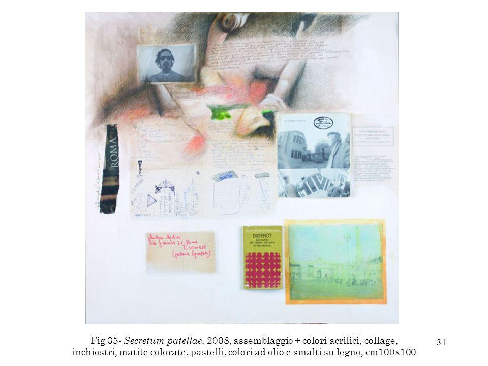31 Fig 35- Secretum patellae, 2008, assemblaggio + colori acrilici, collage, inchiostri, matite colorate, pastelli, colori ad olio e smalti su legno,