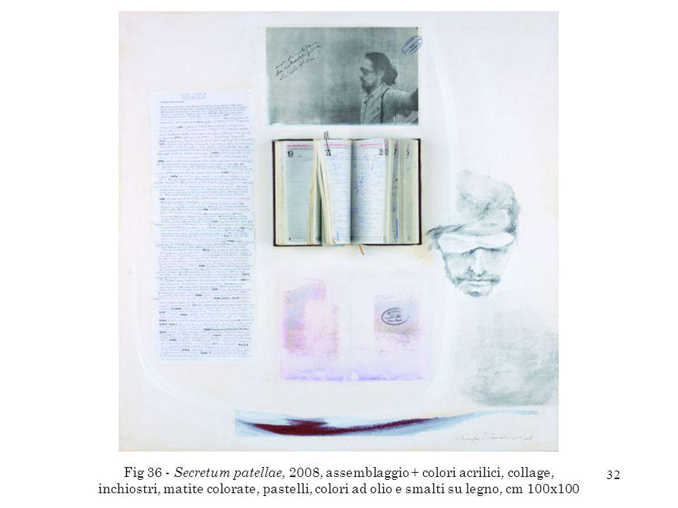 32 Fig 36 - Secretum patellae, 2008, assemblaggio + colori acrilici, collage, inchiostri, matite colorate, pastelli, colori ad olio e smalti su legno,