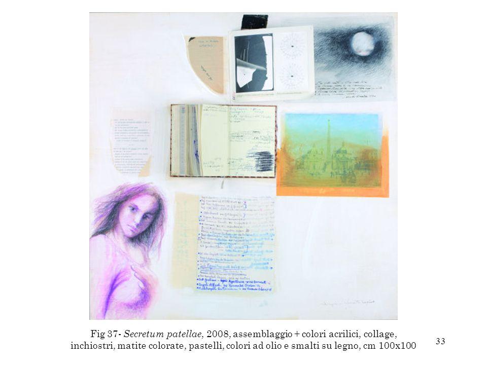 33 Fig 37- Secretum patellae, 2008, assemblaggio + colori acrilici, collage, inchiostri, matite colorate, pastelli, colori ad olio e smalti su legno,