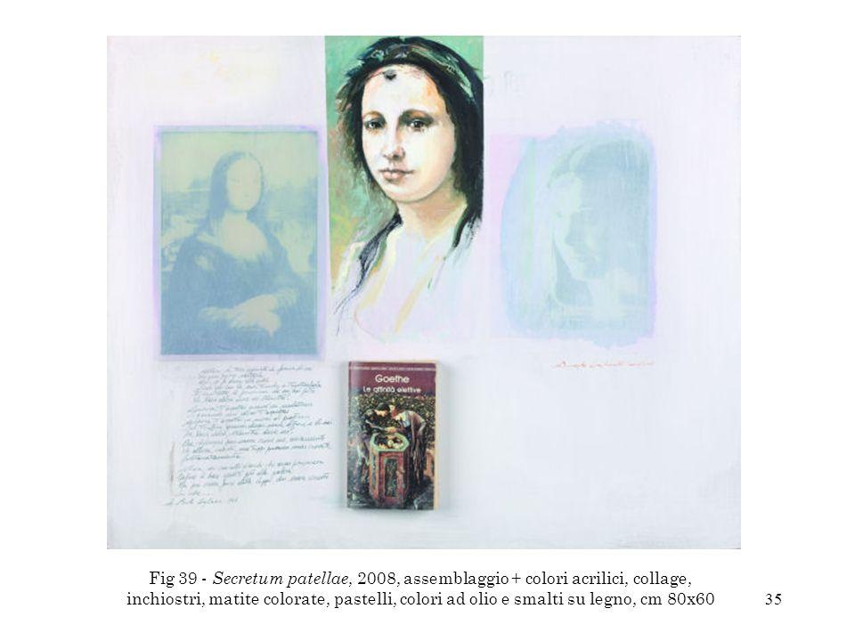 35 Fig 39 - Secretum patellae, 2008, assemblaggio + colori acrilici, collage, inchiostri, matite colorate, pastelli, colori ad olio e smalti su legno,