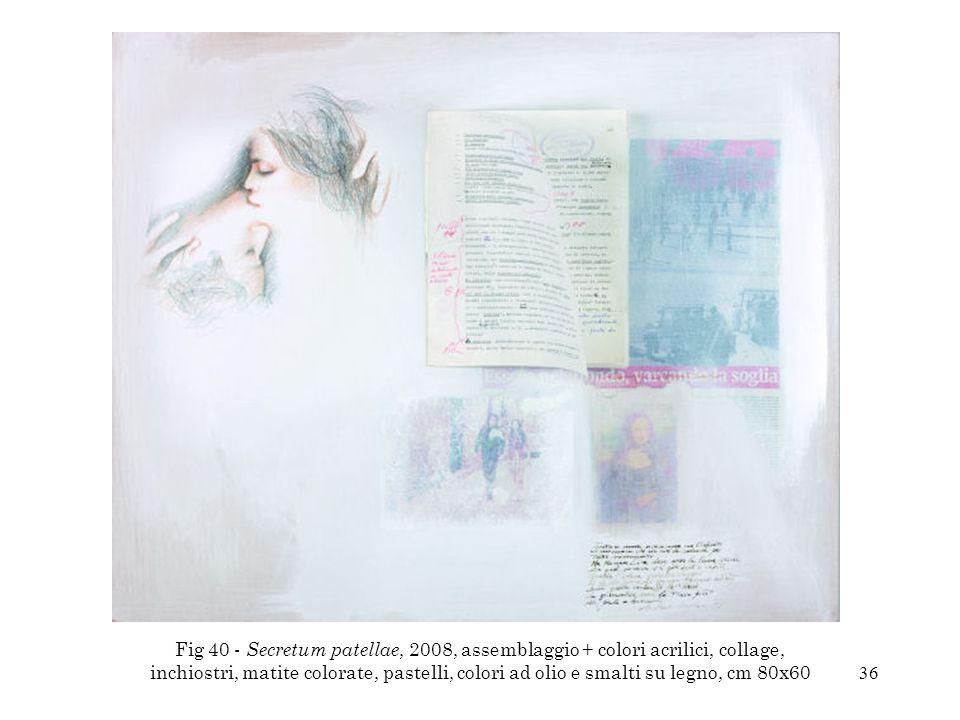 36 Fig 40 - Secretum patellae, 2008, assemblaggio + colori acrilici, collage, inchiostri, matite colorate, pastelli, colori ad olio e smalti su legno,