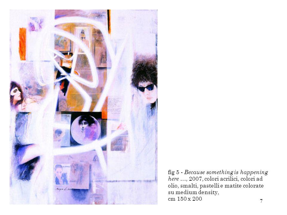 48 Fig 48- Dylan-Fanny Ardant, 1997, colori acrilici, décollage, collage e smalti su medium density, cm 42x144