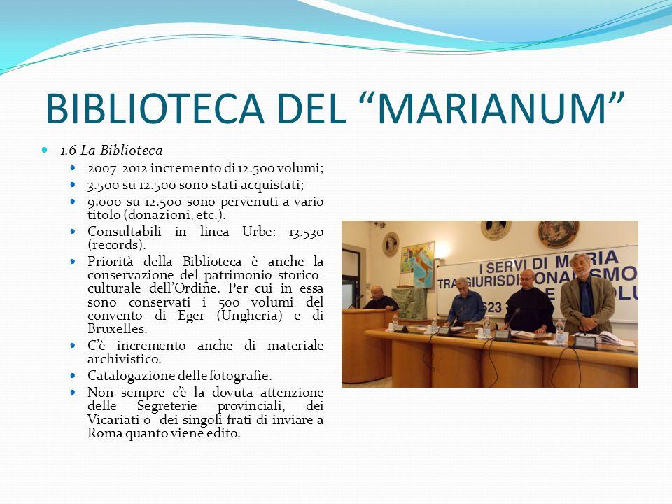 BIBLIOTECA DEL MARIANUM 1.6 La Biblioteca 2007-2012 incremento di 12.50o volumi; 3.500 su 12.500 sono stati acquistati; 9.000 su 12.500 sono pervenuti