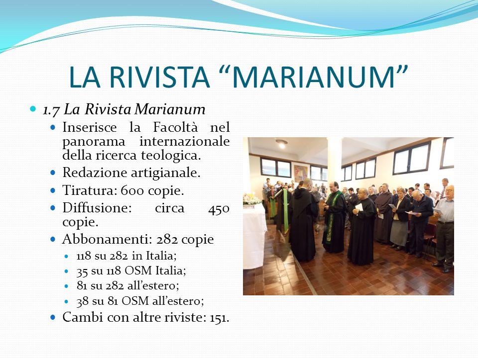 LA RIVISTA MARIANUM 1.7 La Rivista Marianum Inserisce la Facoltà nel panorama internazionale della ricerca teologica. Redazione artigianale. Tiratura: