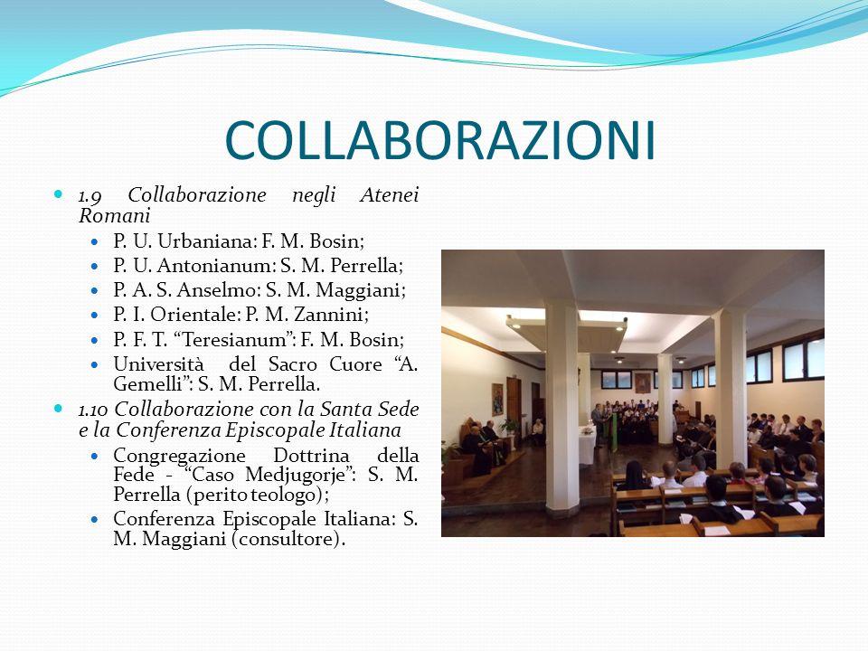 COLLABORAZIONI 1.9 Collaborazione negli Atenei Romani P. U. Urbaniana: F. M. Bosin; P. U. Antonianum: S. M. Perrella; P. A. S. Anselmo: S. M. Maggiani