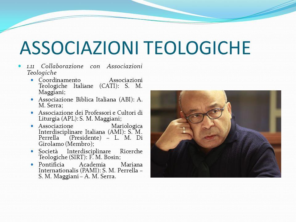ASSOCIAZIONI TEOLOGICHE 1.11 Collaborazione con Associazioni Teologiche Coordinamento Associazioni Teologiche Italiane (CATI): S. M. Maggiani; Associa