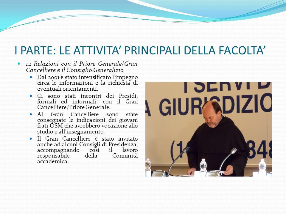 I PARTE: LE ATTIVITA PRINCIPALI DELLA FACOLTA 1.1 Relazioni con il Priore Generale/Gran Cancelliere e il Consiglio Generalizio Dal 2001 è stato intens