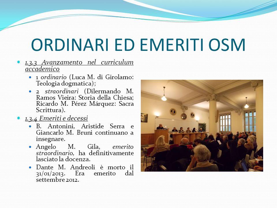 ORDINARI ED EMERITI OSM 1.3.3 Avanzamento nel curriculum accademico 1 ordinario (Luca M. di Girolamo: Teologia dogmatica); 2 straordinari (Dilermando