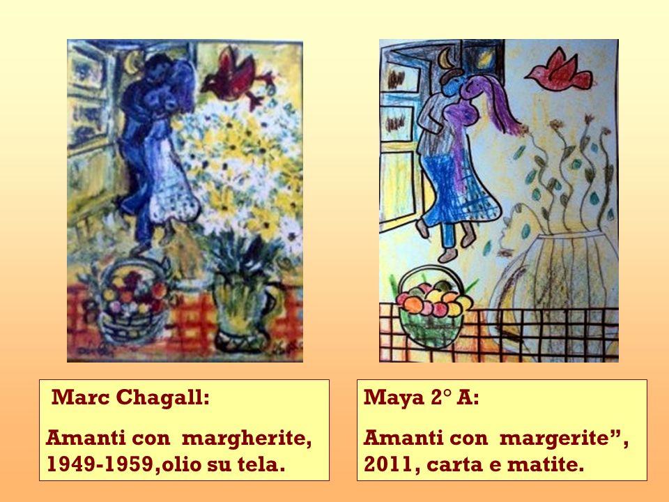 Maya 2° A: Amanti con margerite, 2011, carta e matite. Marc Chagall: Amanti con margherite, 1949-1959,olio su tela.