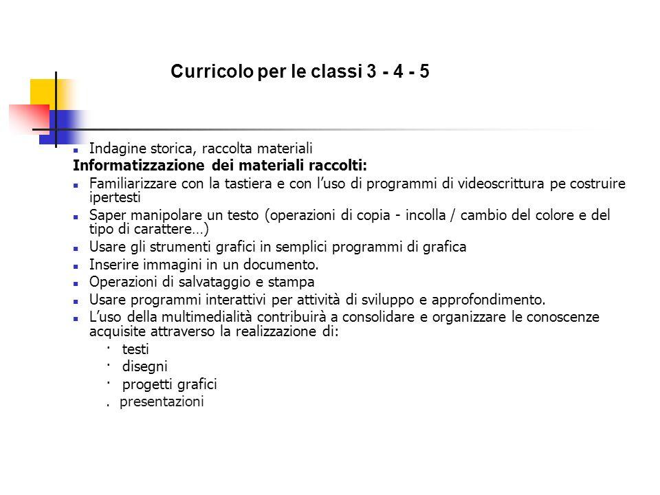 Curricolo per le classi 3 - 4 - 5 Indagine storica, raccolta materiali Informatizzazione dei materiali raccolti: Familiarizzare con la tastiera e con