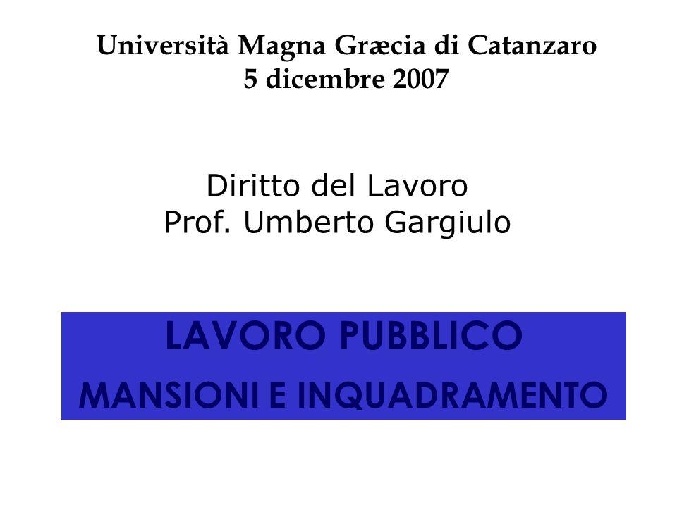 LAVORO PUBBLICO MANSIONI E INQUADRAMENTO Università Magna Græcia di Catanzaro 5 dicembre 2007 Diritto del Lavoro Prof. Umberto Gargiulo
