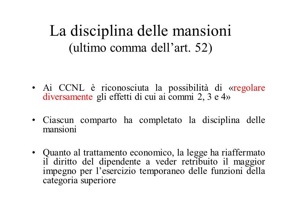 La disciplina delle mansioni (ultimo comma dellart. 52) Ai CCNL è riconosciuta la possibilità di «regolare diversamente gli effetti di cui ai commi 2,