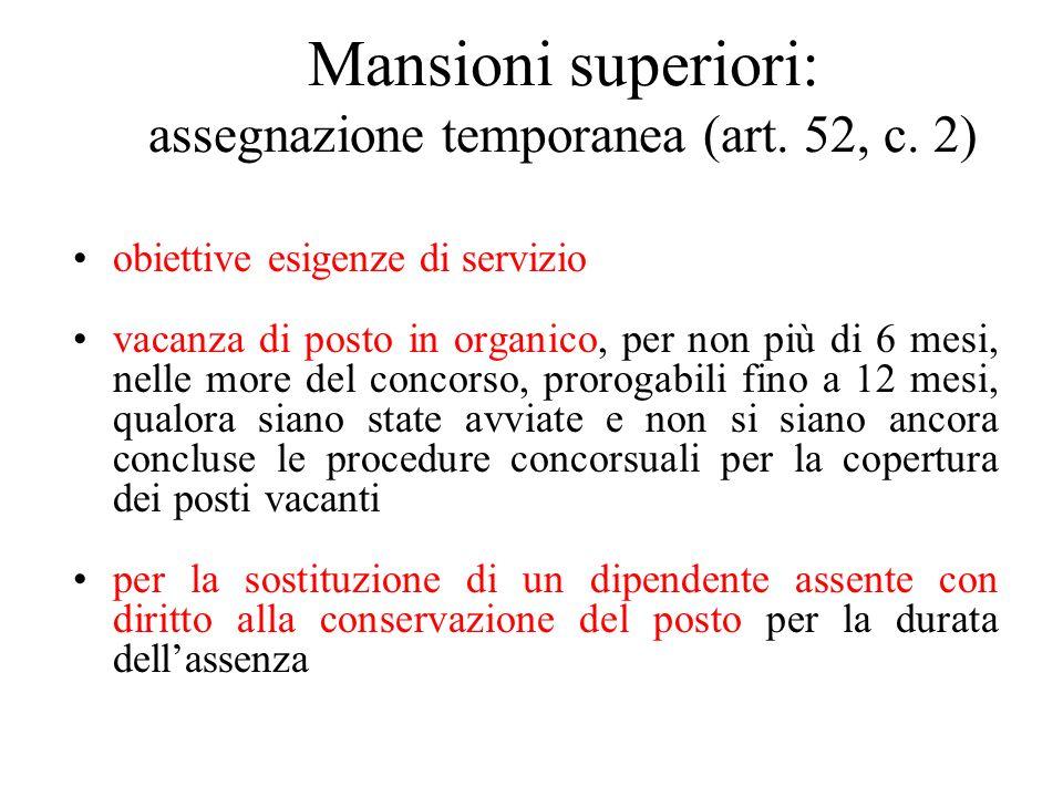 Mansioni superiori: assegnazione temporanea (art. 52, c. 2) obiettive esigenze di servizio vacanza di posto in organico, per non più di 6 mesi, nelle